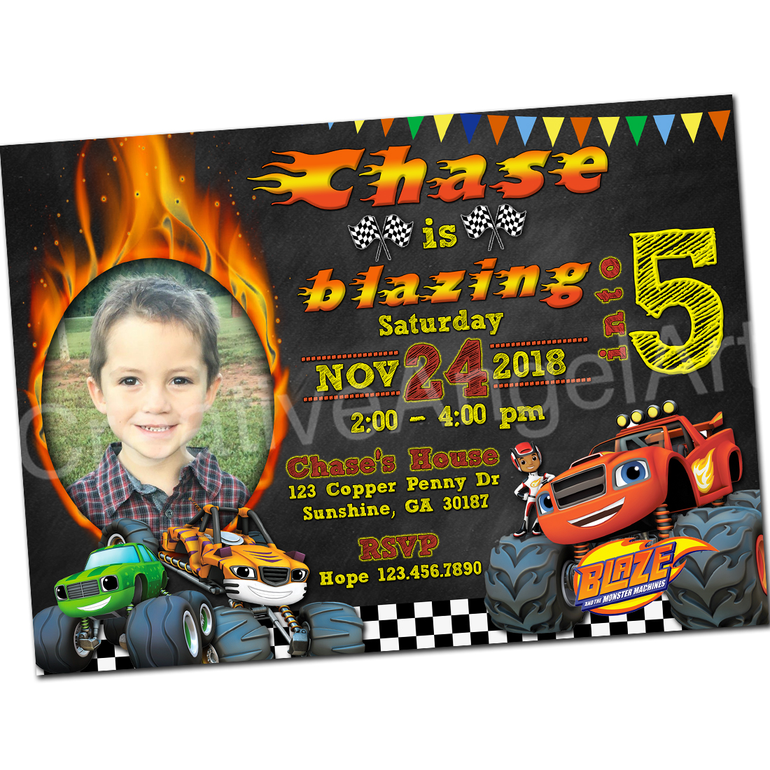 Printable Blaze Birthday Invitation With Photo And The Monster Machines 5x7