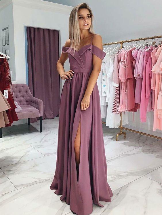 6982ecedb6b Elegant Purple Formal Evening Dresses Off Shoulder Straps Satin Prom Dress  High Slit Custom Cheap Party