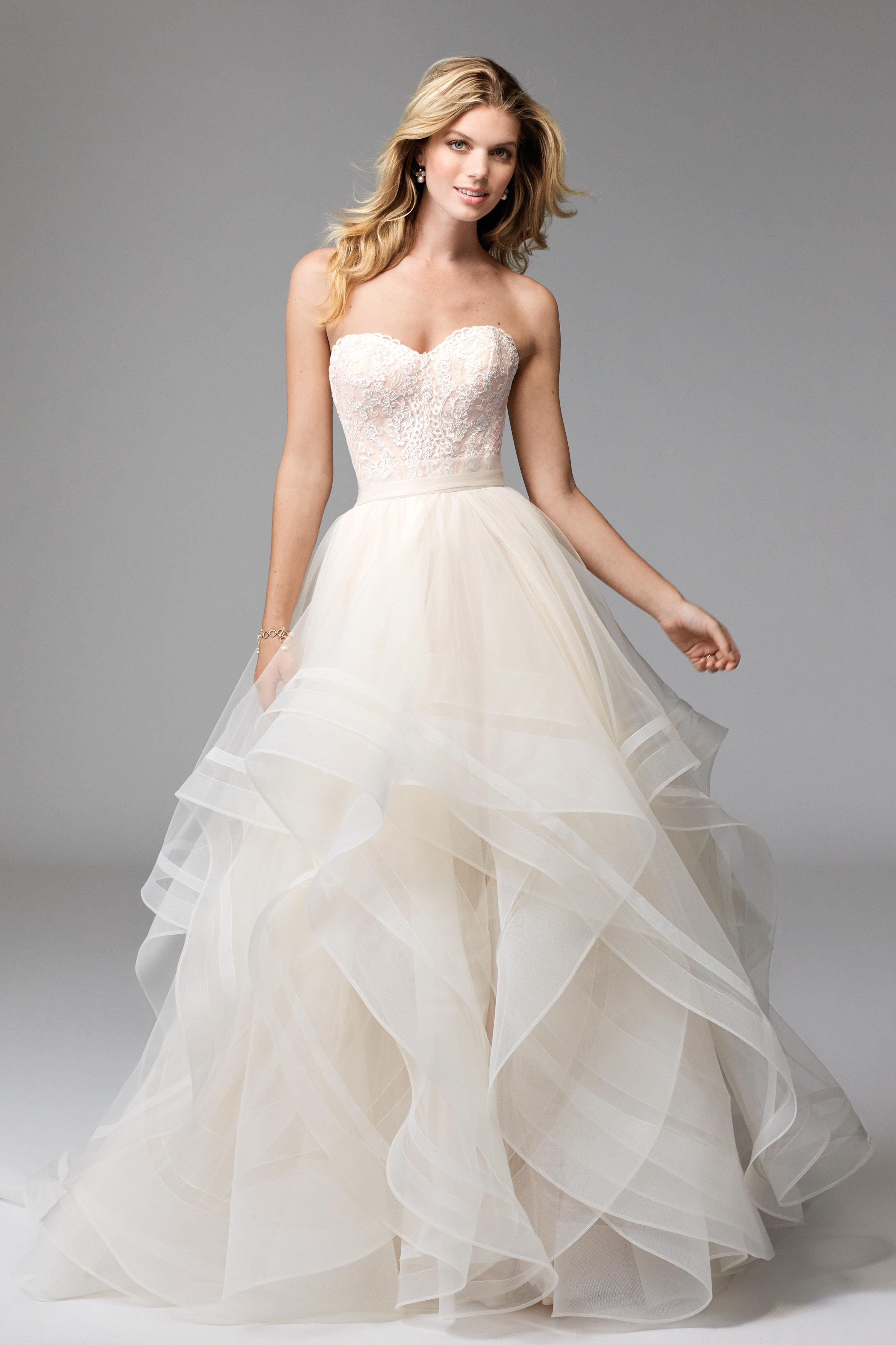 Unique A Line White Layered Wedding Gown Sweetheart