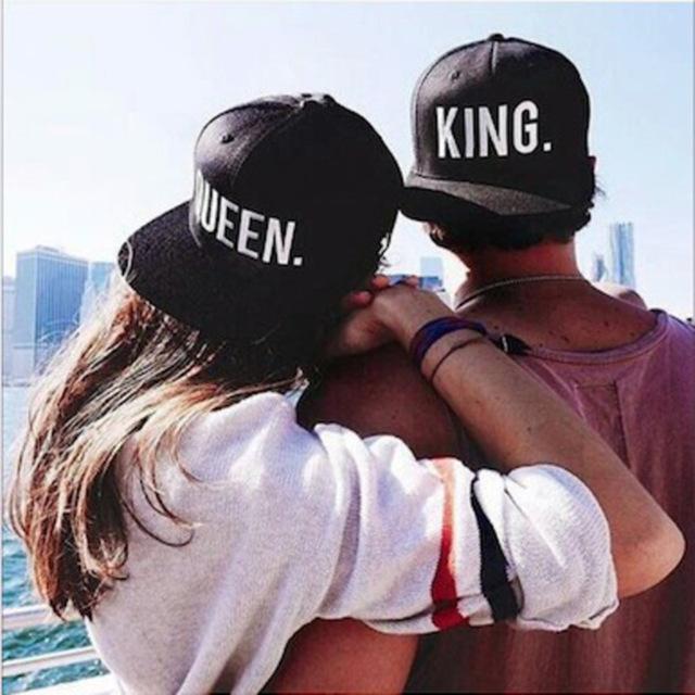 8e8d274512aeb KING QUEEN Embroidery Snapback Hat Acrylic Men Women Couple 2 pieces ...