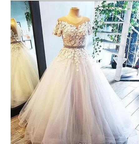 New Lace A Line Wedding Dresses Short Sleeves Appliques Beaded 3D ...