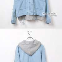 74404a780ba00 Vintage leisure hooded two pieces denim jacket · shongshang · Online ...
