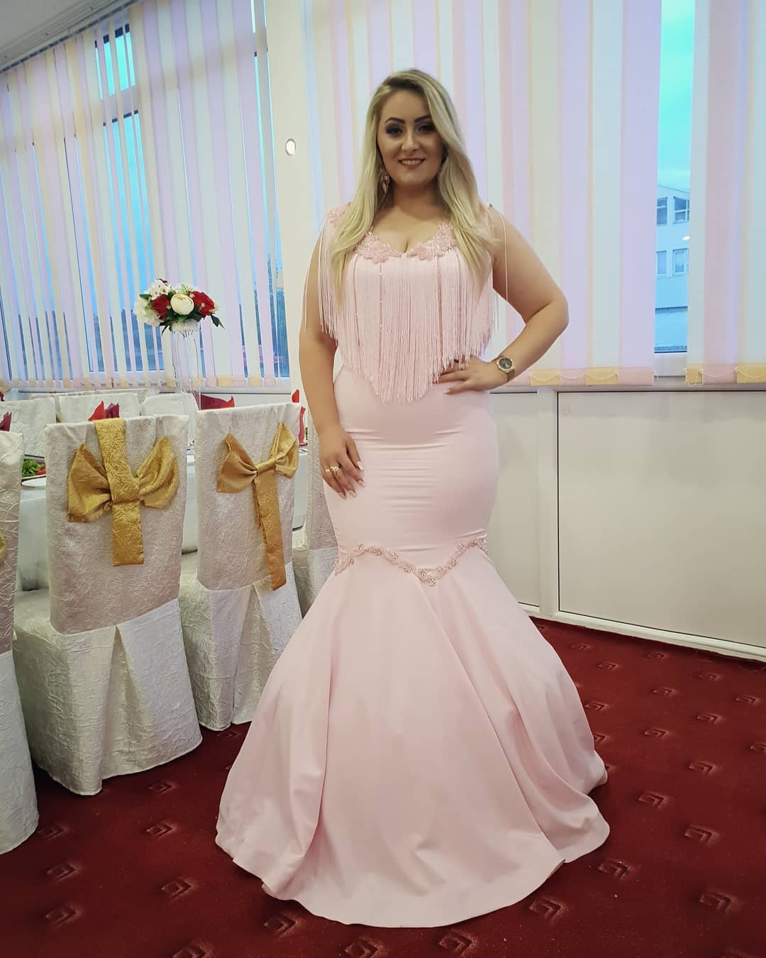 Gorgeous Pink Mermaid Prom Dress Plus Size V Neck Tassel Lace Appliques  Floor Length Evening Dresses Formal Long Party Gowns from better4u