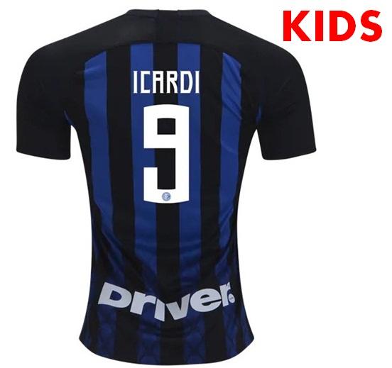 f57ab40fd03ad 18/19 Inter Milan Icardi #9 KIDS Home Soccer Jersey Soccer Stadium ...