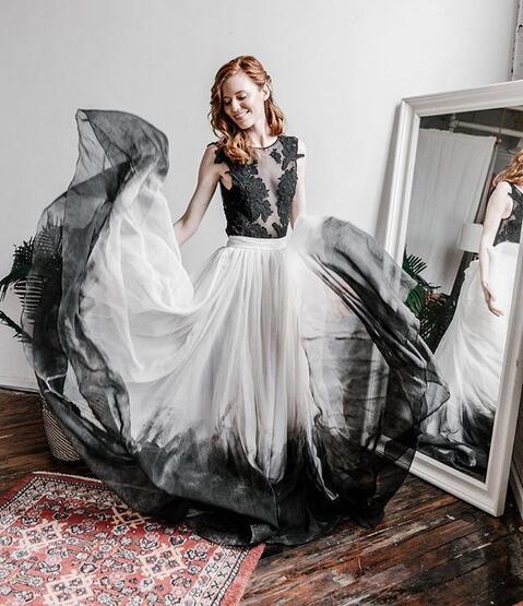Ombre Bohemian Lace Black Wedding Dresses 3crew Neck Lace Bodice