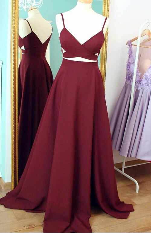 Straps Burgundy Long Prom Dress Evening Dress · modsele · Online ... 89001e586