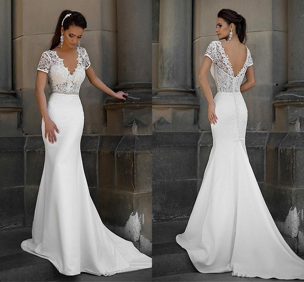 Short Sleeve Lace V Back Mermaid Wedding Dress 2eaf4f0b6