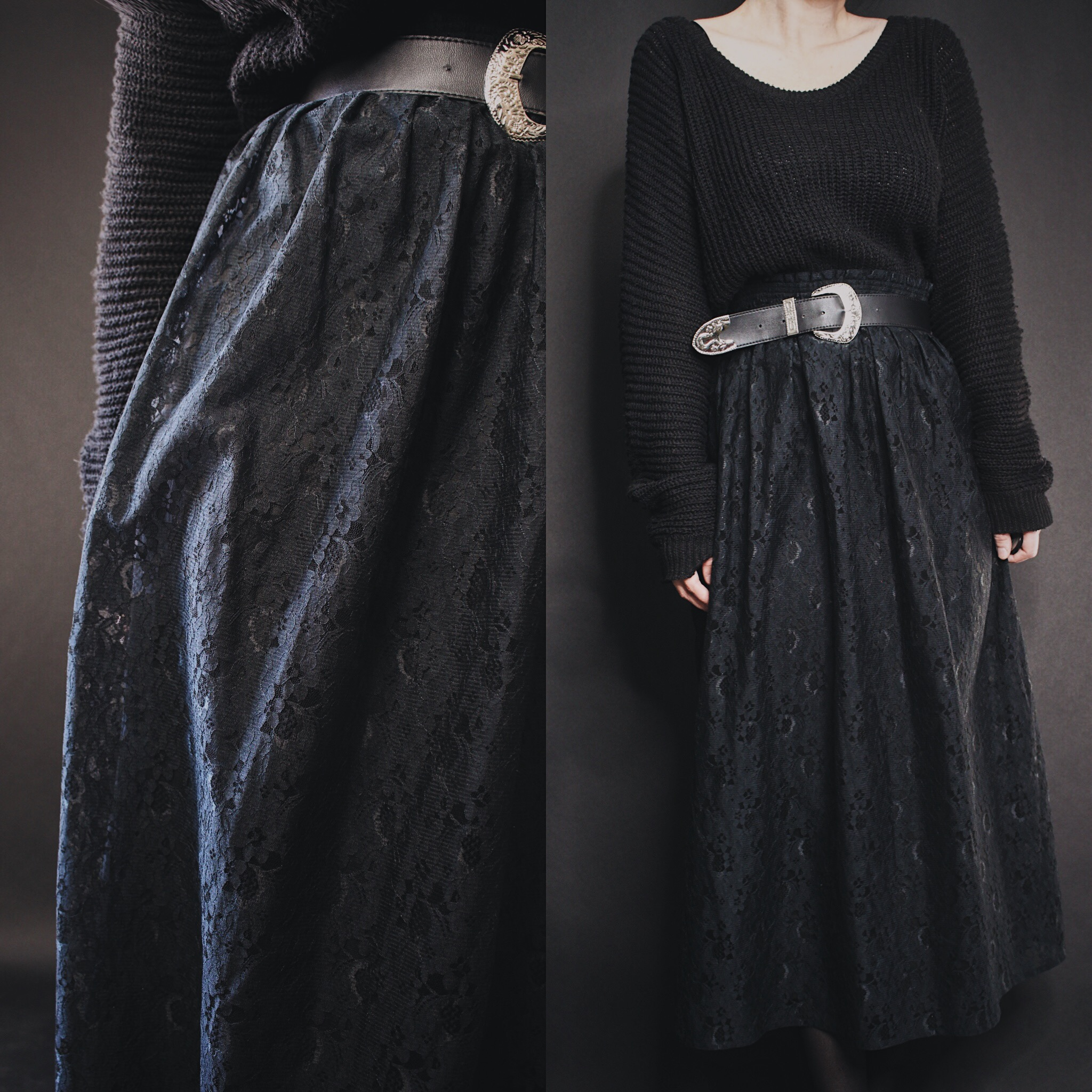 c82639d6e07e9 RESERVED FOR CHRISTINE - Vintage 90s Plus Size Black Lace Midi Skirt -  Thumbnail 1