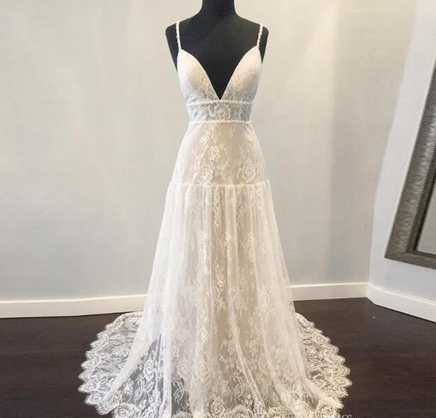 Bohemian Empire Waist Wedding Dress