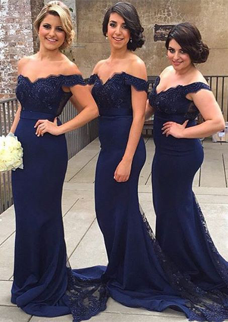 Mermaid Navy Blue Jersey Bridesmaid Dresses,Plus Size Bridesmaid  Dresses,Off Shoulder Wedding Party Dresses for Bridesmaid APD1732 sold by  lasedress