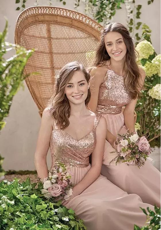 c880440d699b 2017 New Rose Gold Bridesmaid Dresses A Line Spaghetti Backless Sequins  Chiffon Cheap Long Beach Wedding Gust Dress Maid of Honor Gowns