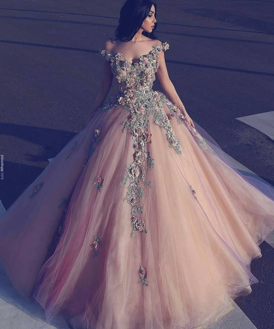 b0a5970094bc Champagne off shoulder tulle long prom dress, a-line flowers applique party  dress ...