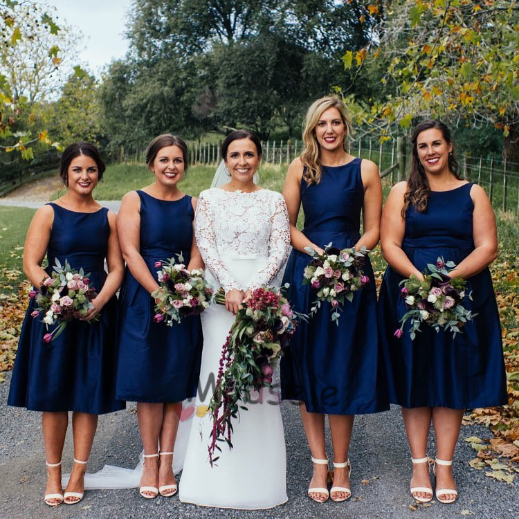 Short Navy Blue Bridesmaid Dresses With Pockets From Modsele