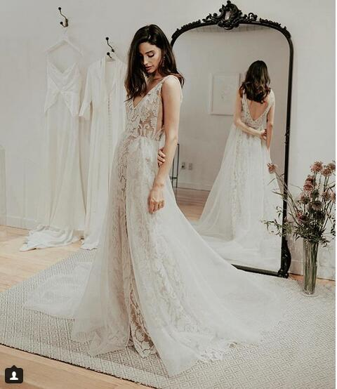 Simple Beach Wedding Dresses Boho Bridal Gowns Sexy Deep V Neck Delicate Lace Side Slit Wedding Dresses From Babybridal