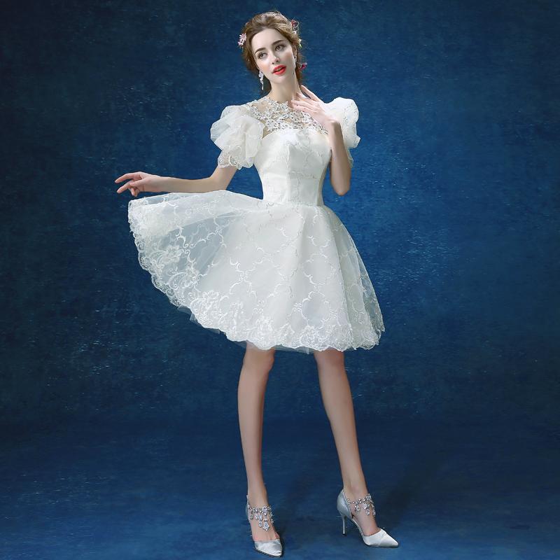 7bcc9e712a3 Cute white lace round neck short prom dress, princess dress ...