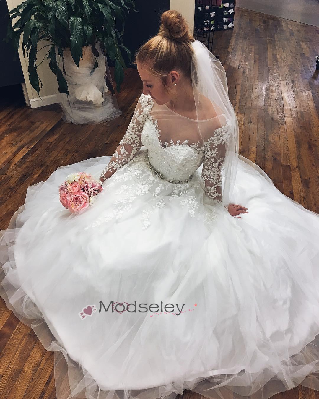 d6c6fb3b980e Elegant Long Sleeves White Long Wedding Dress · modseleystore ...