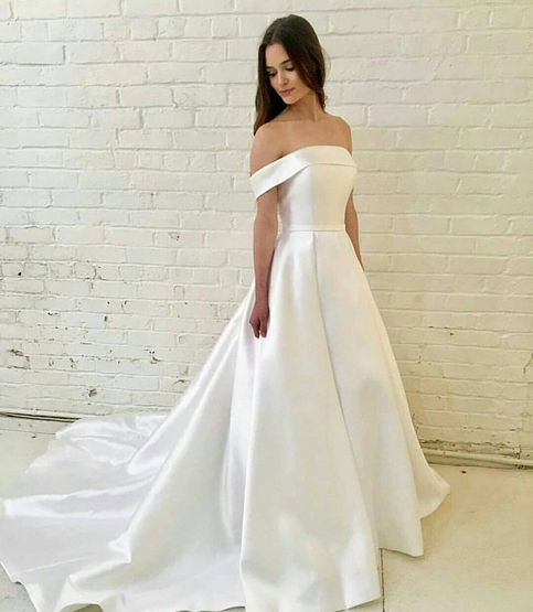 White Wedding Dress Song: A-line Off-the-Shoulder White Satin Wedding Dress With