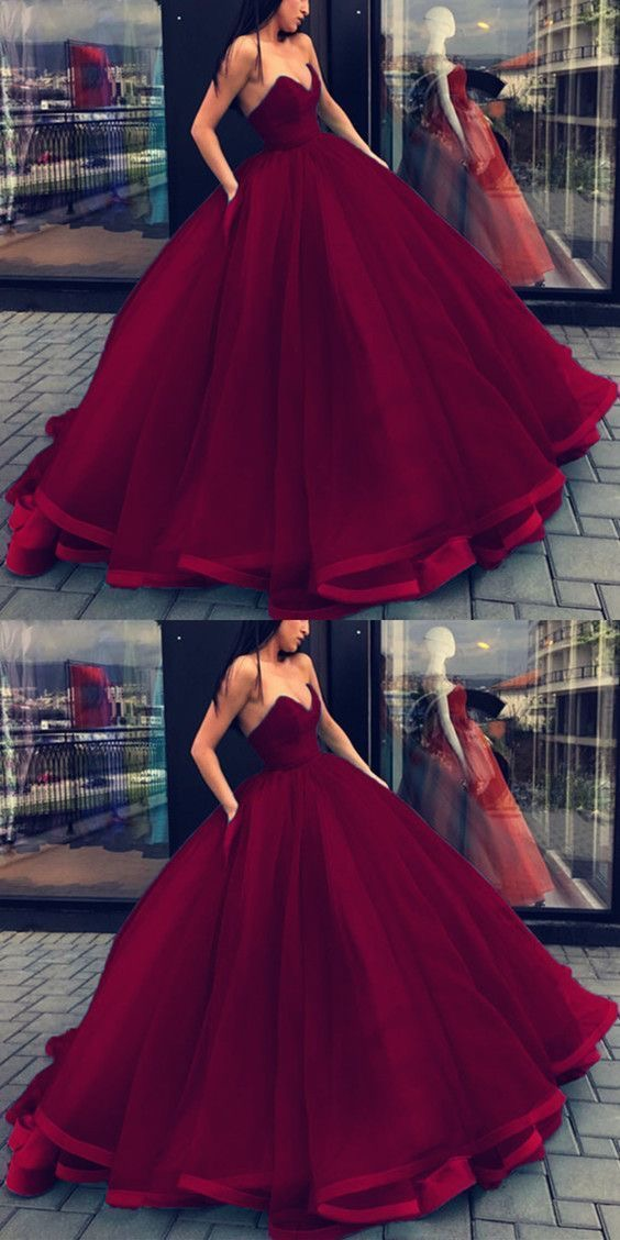 60181b3ee0 Ball Gown Dark Red Prom Dresses Quinceanera Dress on Storenvy