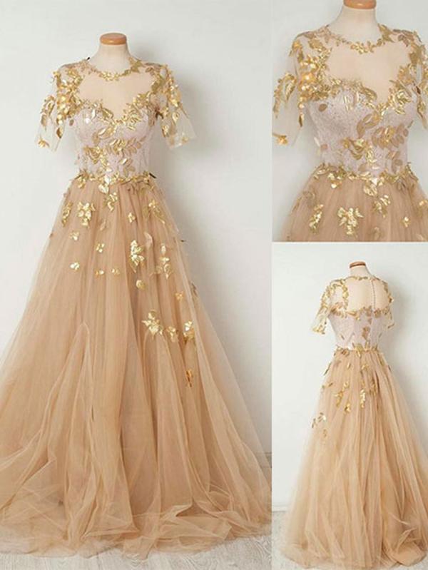 Long Gold Evening Dress
