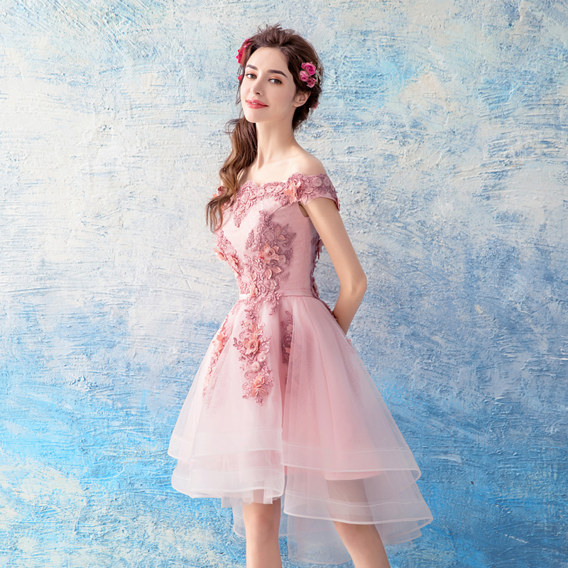 490fe62ebf5 ... Pink tulle lace short prom dress