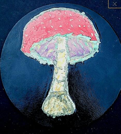 . Abstract Art Mushroom Painting Trippy Home Decor Acrylic Artwork on Glass  sold by EyegasmStudioz