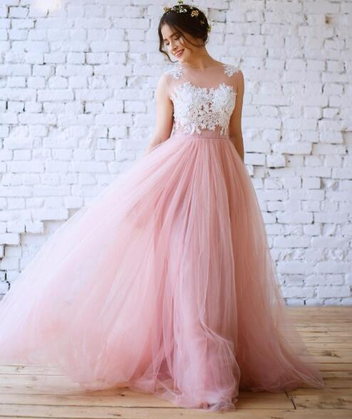 New Blush Pink Bohemian Wedding Dresses Illusion Neck White Lace Appliqued Long Tulle Beach Bridal Gowns From Babybridal