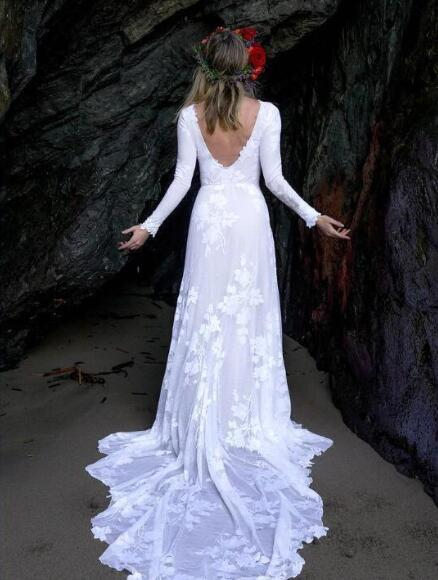 Simple Elegant Summer Beach Wedding Dresses Lace Long Sleeves Sexy Back Long Bridal Gowns For Beach Gardens Cheap Wedding Gowns From Babybridal
