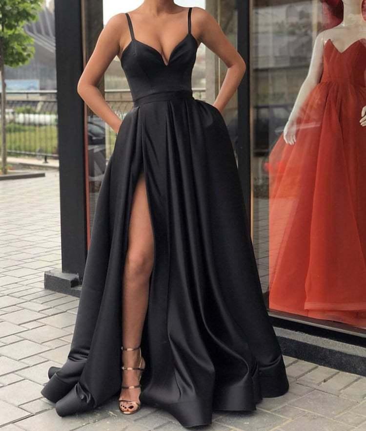 6e6019d1f1d24 Sexy Black Evening Dresses Satin Long Split Formal Dress Satin A ...