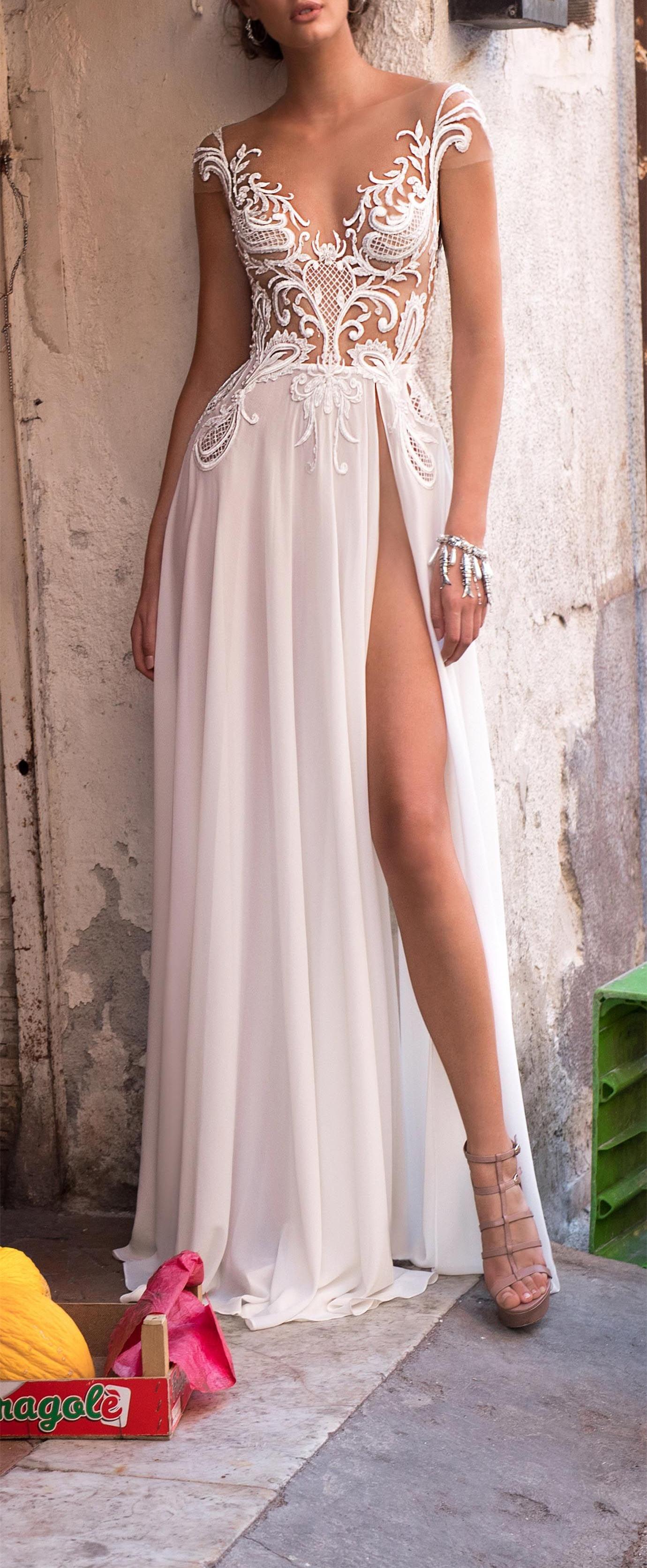 Elegant White Lace Chiffon Wedding Dress Off Shoulder Bridal Dress