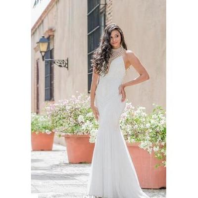 7d7a0fac03eb Sexy mermaid wedding dresses white chiffon high neck sleeveless with pearls  open illusion back sweep train