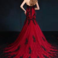 32f8efa320 ... Black And Red Gothic Mermaid Wedding Dresses Sweetheart Lace Appliques  Tulle Corset Back Vintage Colorful Wedding ...