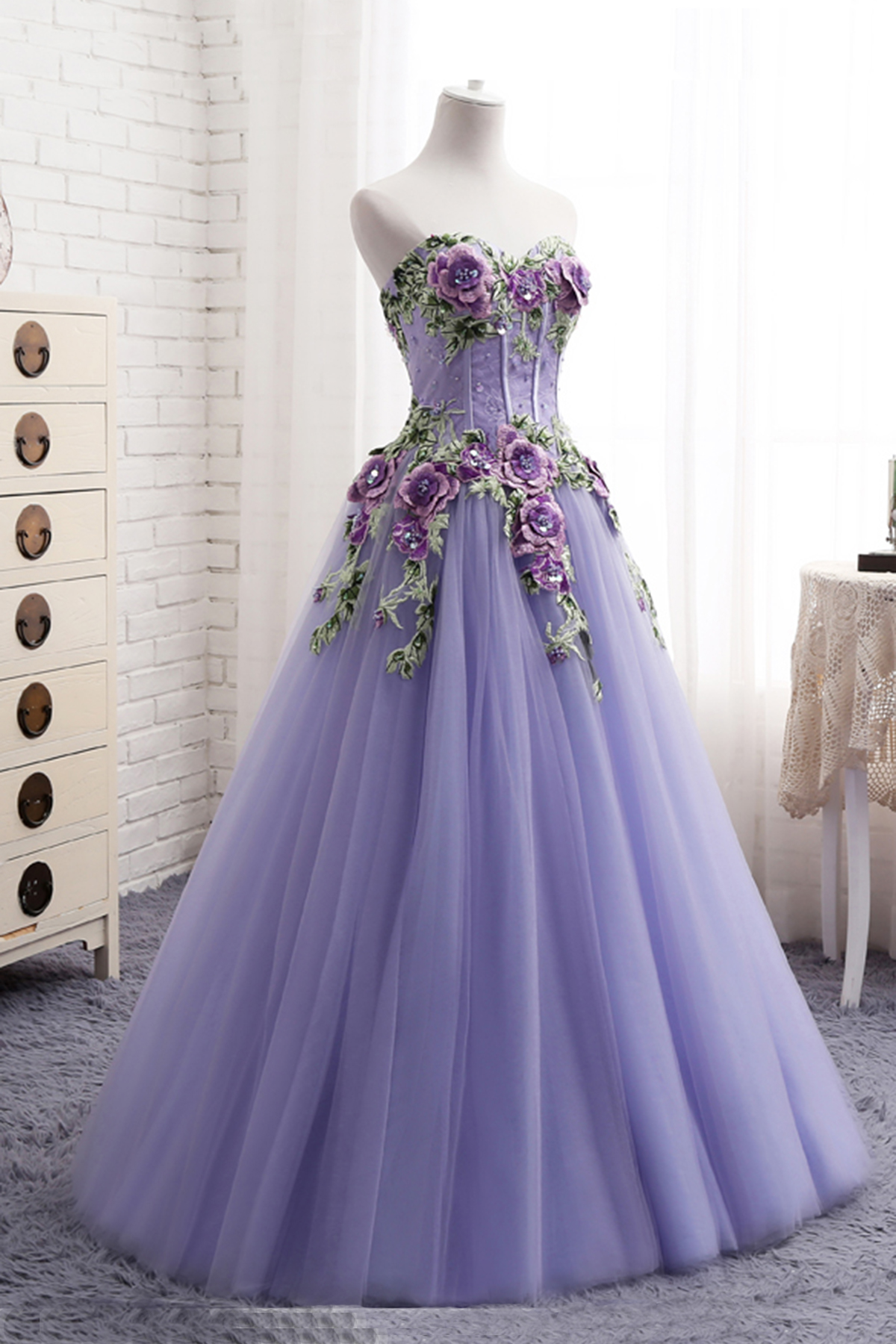 9ac37cfc1f6 Popular Sweetheart Lavender Tulle Long 3D Flower Evening Dress ...