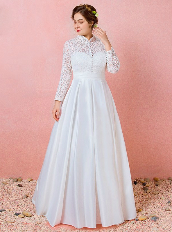 Plus Size Long Sleeve Lace Satin High Neck Wedding Dress595