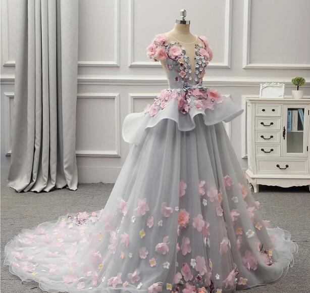 13ddf553d88b ... Gorgeous Colorful Ball Gown Prom Dresses 2019 Spring Summer Light Gray  Flora Appliques Evening Gowns Lace ...