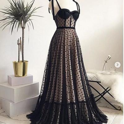 b0514399e0ac 1950s vintage a line prom dresses sweetheart black polka dots evening  formal gowns