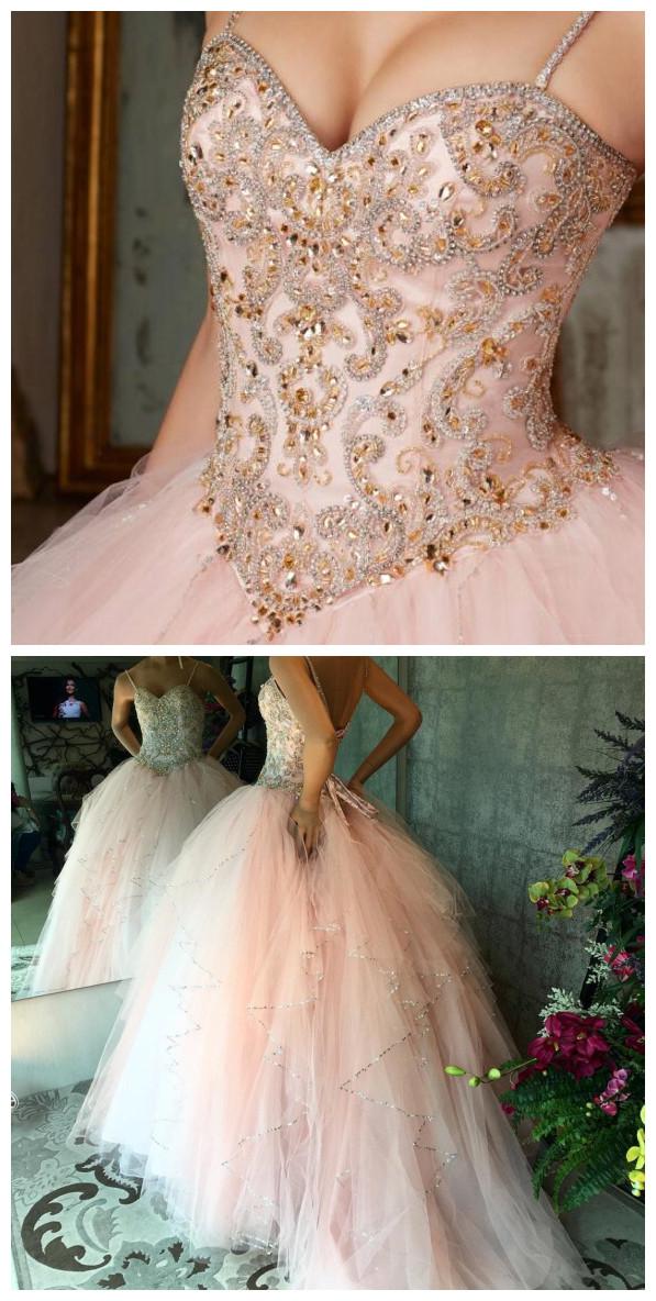 607b110c61 Cheap prom dresses Quinceanera Dresses Vestidos de 15 anos Aqua Stunning Ball  Gowns Spaghetti Straps Beaded