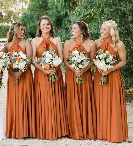 Dark Orange Bridesmaid Dresses
