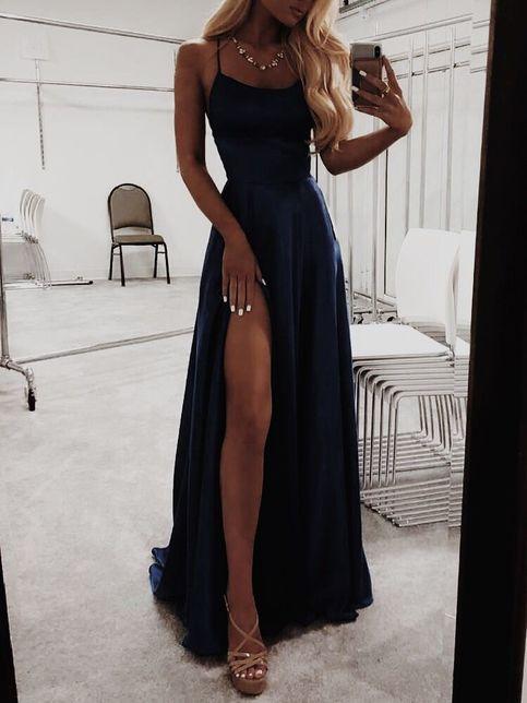 A Line Navy Blue Prom Dresses Satin Fashion Dress Cheap