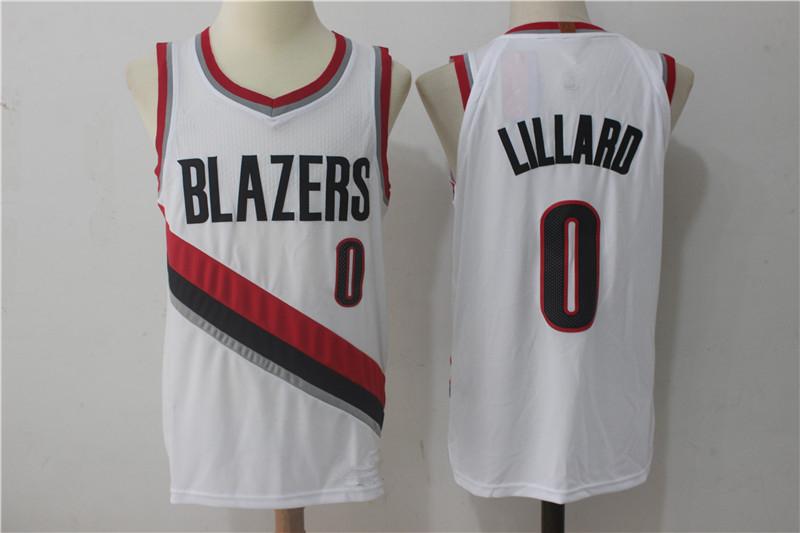 Men s Portland Trail Blazers 0 Damian Lillard White Basketball Jersey f51d04630