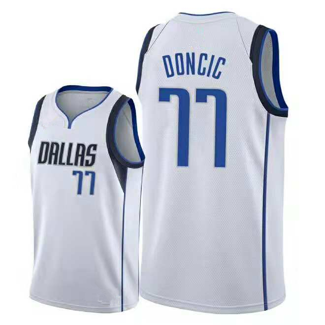 dcf0d9806 Men s Dallas Mavericks 77 Luka Doncic White Basketball Jersey ...