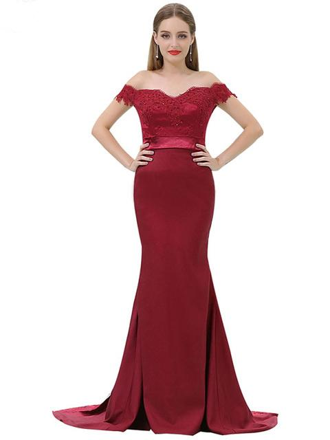 d867c5978fcc2 Chic Trumpet/Mermaid Off-the-shoulder Burgundy Satin Modest Long ...
