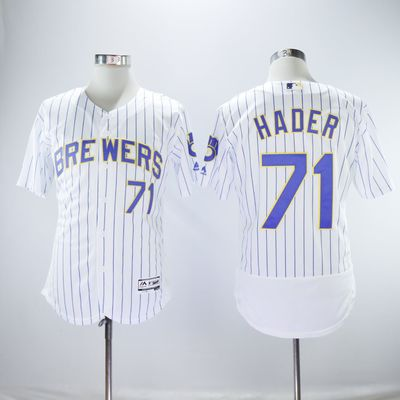 62b11dfc286 Men s milwaukee brewers  71 josh hader flex base player jersey - Thumbnail 4