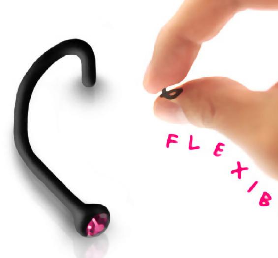 Acrylic Black Bio Flex Cork 18g Nose Screw Ring Stud Piercing Jewelry Red Cz From Body Jewelry One