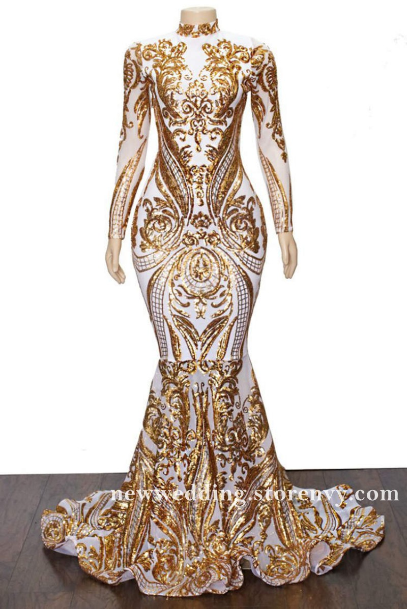 Gold Sequined Lace Long Sleeves Prom Dresses Mermaid High Neck Evening Dress For Black Girls 2019 African Style Long Party Gowns New Sold By