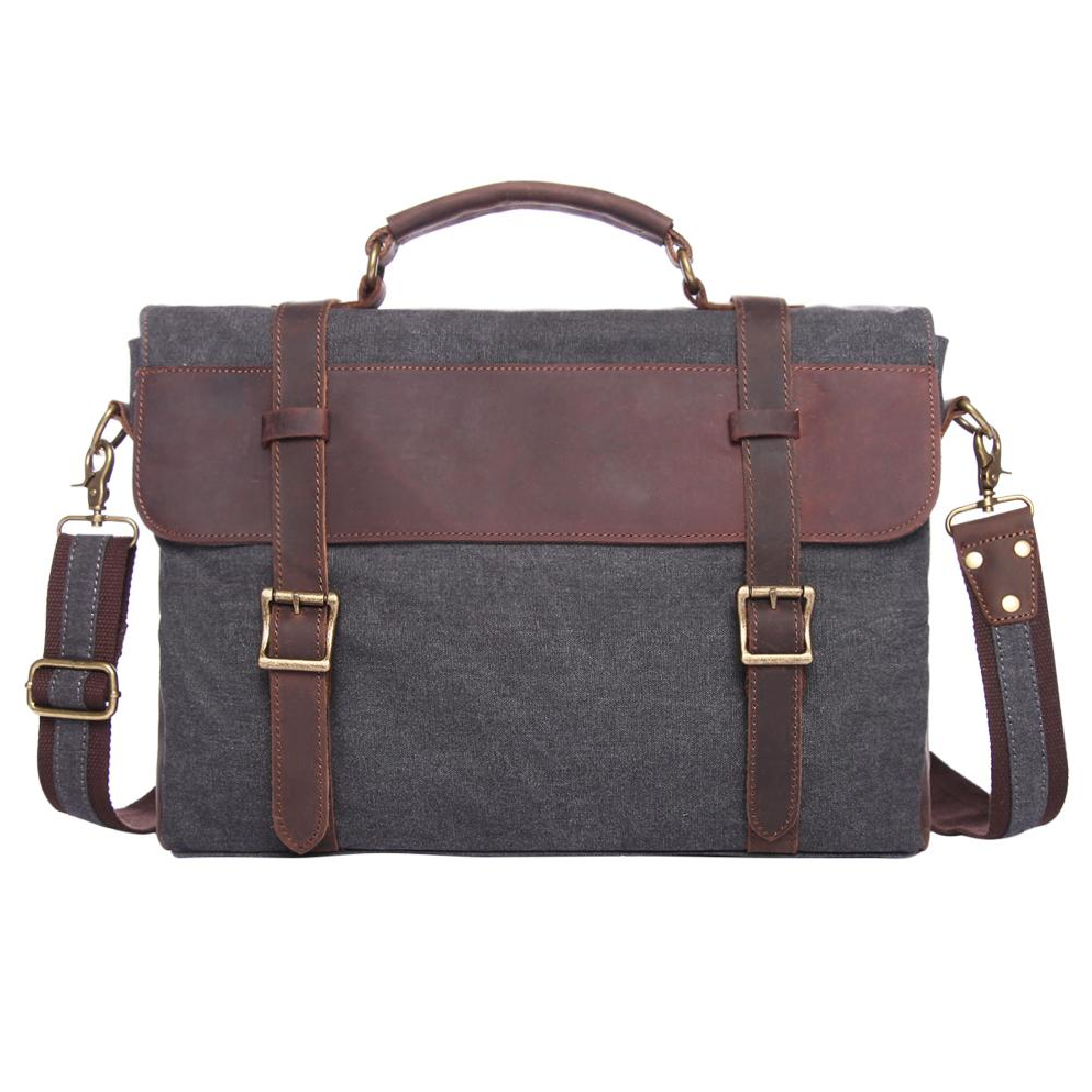 71df412c236 Vintage Crazy Horse Leather & Canvas Computer Handbag Business ...