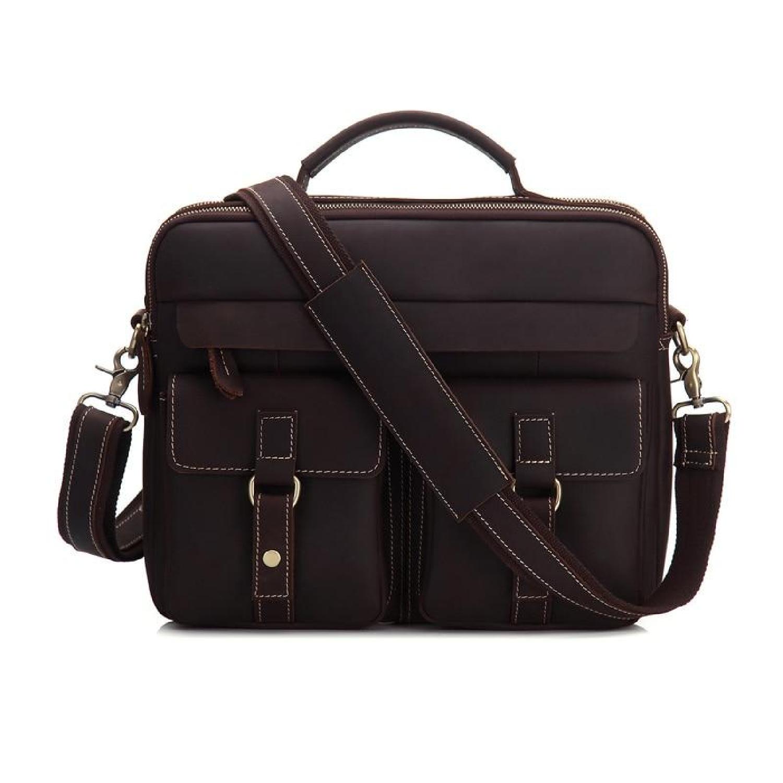 Real Leather Men/'s Messenger Shoulder bag Briefcases Handbag Brown New