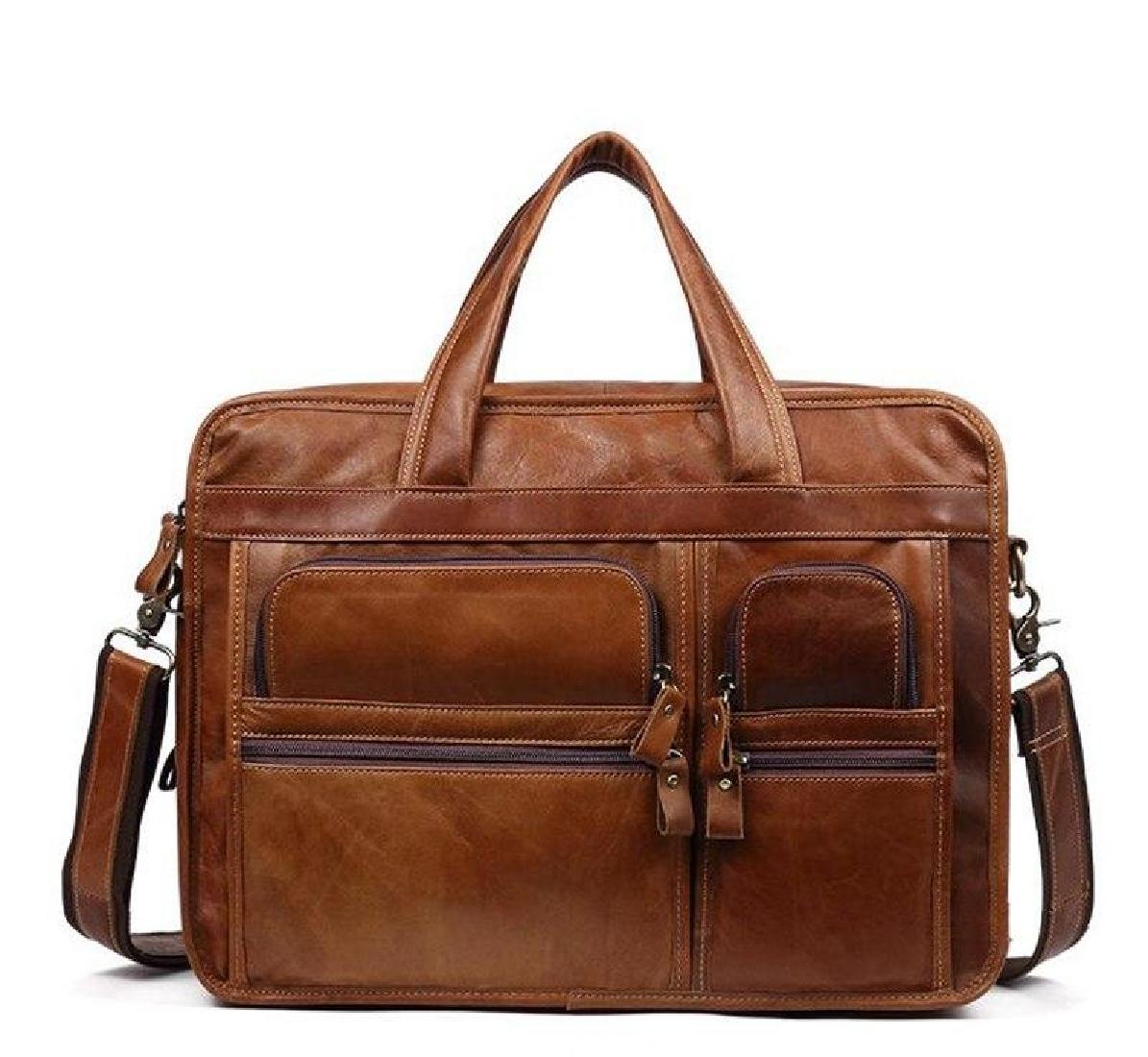 3228c1452127 Bag Briefcase Men Messenger Shoulder Handbag Vintage Laptop Satchel  Business Bags Leather Genuine Handmade Tote Brown Adjustable Men