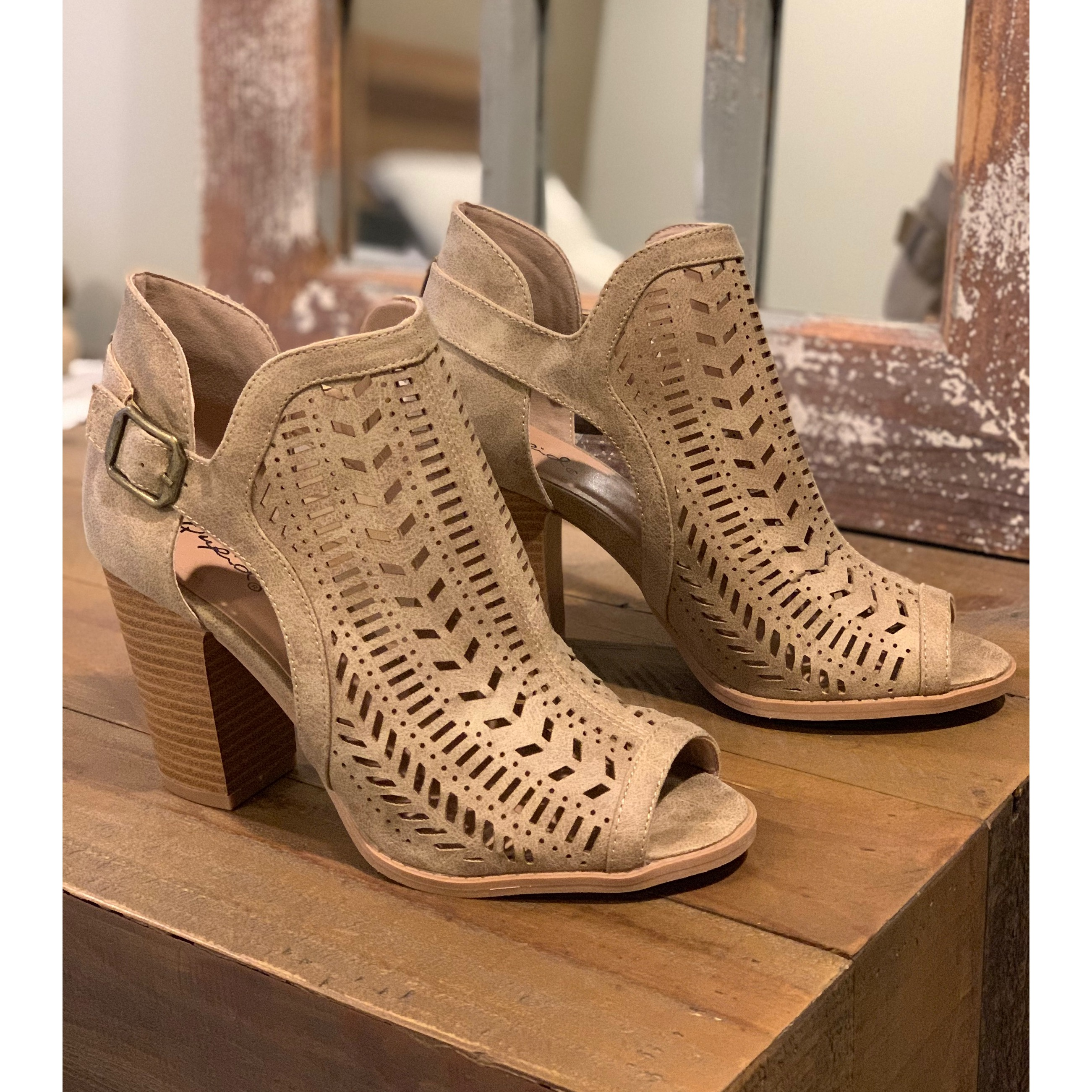 66cc0a44331 Eve Peep Toe Booties - Distressed Taupe from Blooming Lily Boutique