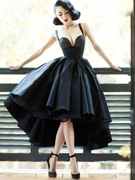 76d497ae353 Little Black Dress Vintage Homecoming Dresses High Low Short Prom Dress  Party Dress