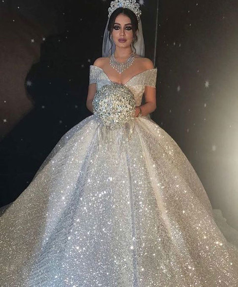 Glitter Wedding Gowns: Sparkly Off The Shoulder Wedding Dresses Bridal Gown